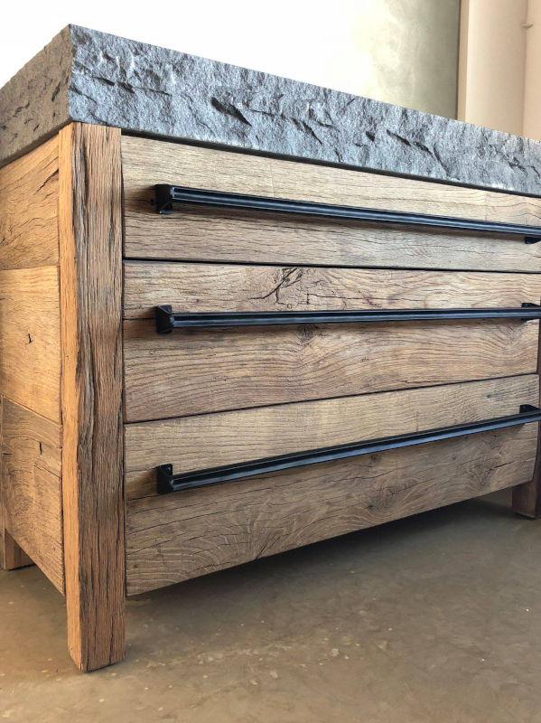 Handgrepen voor op houten keuken, industrieel en zwart
