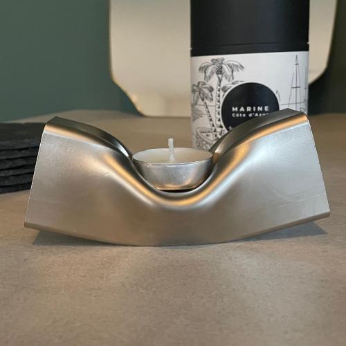 Stalen waxinelichthouder zilver