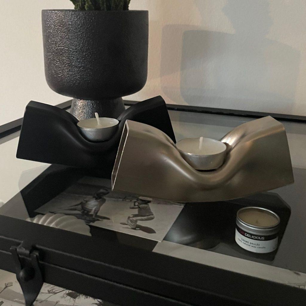 Design waxinelichthouder zilver staal