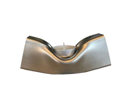 Waxinelichthouder zilver staal